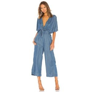 Splendid Blue Waist-Tie Denim Surplice Jumpsuit.